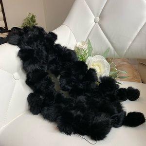 Genuine black Rabbit fur scarf